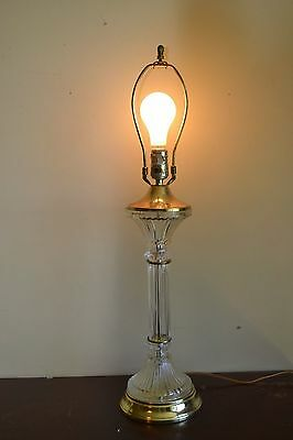 Vintage Tall Crystal Cut Glass Column Table Lamp w/ Gold Chrome -