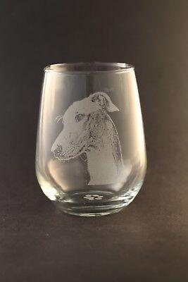 New! Etched Greyhound on Large Elegant Stemless Wine Glasses - Set of 2