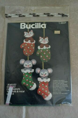 Bucilla 48621 Applique Embroidery Kit Holiday Ornaments Kitts & Mitts Mice NIP