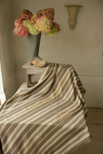 Vintage French Ticking fabric gray & white stripes herringbone weave