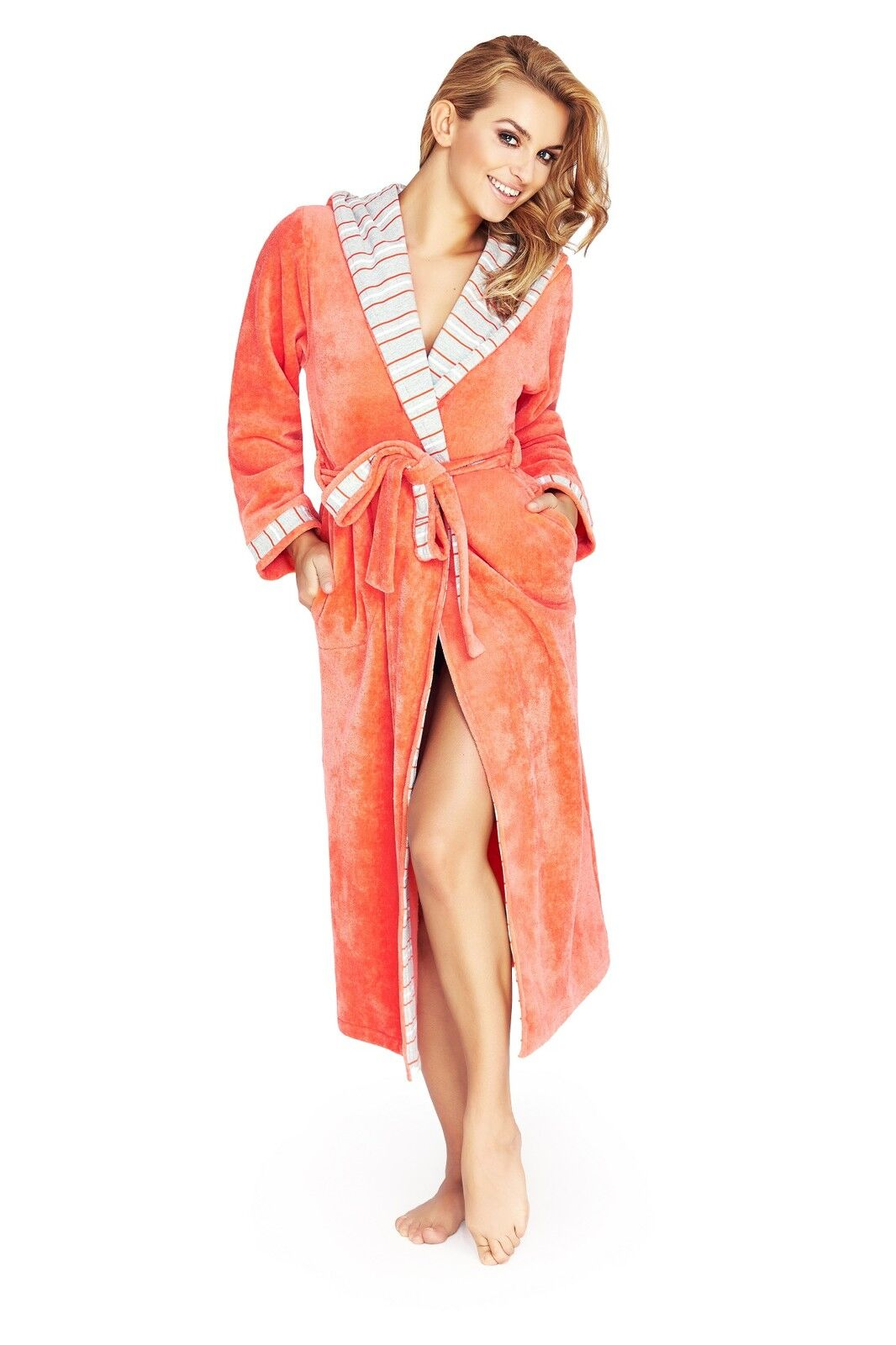 Womens Luxury Soft Cotton Bath Robe Housecoat Dressing -2478