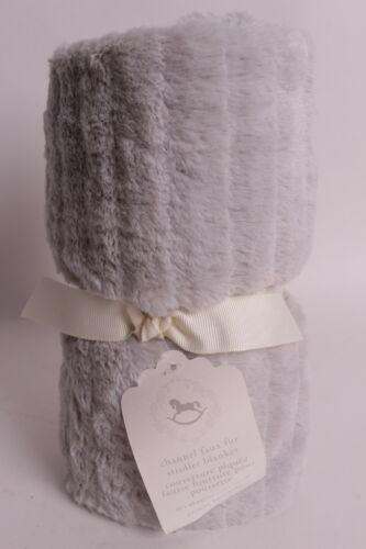 NWT Pottery Barn Kids Channel Faux Fur solid gray stroller baby blanket crib