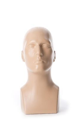 Free Standing Tabletop Male Mannequin Head Hat Scarf Display - Fleshtone