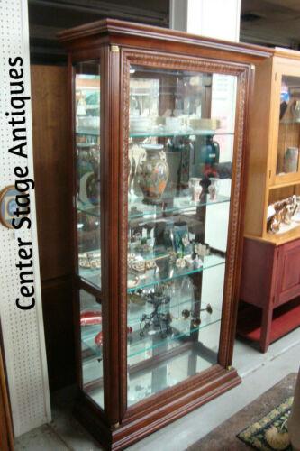 54726 Pulaski Mahogany Lighted Display China Cabinet Curio Side Opening