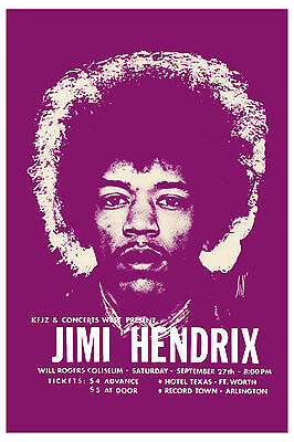 Rock: Jimi Hendrix at Fort Worth Texas Concert Poster 1969  13x19