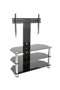 Black Glass TV Stand With Wall Bracket For 32