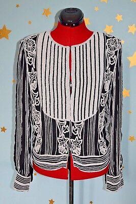 Vintage 80s ST.VINI  amazing beaded black and white jacket /top