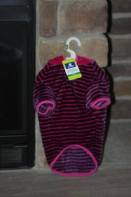 TOP PAW Dog Apparel PINK STRIPED FLEECE HOODIE SWEATER/COAT SIZE LARGE NEW W/TAG