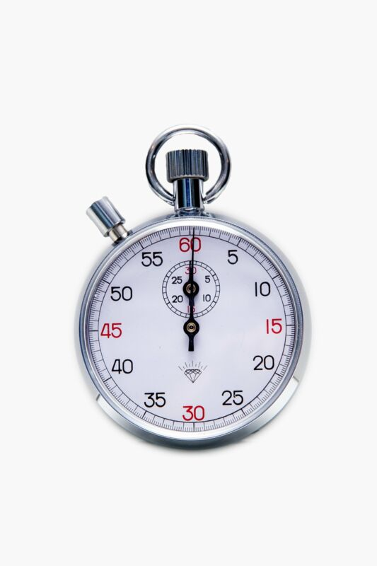"""30 Minute """"Diamond"""" Steel Mechanical Stopwatch With Reset Button"""