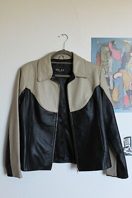 Original 90's Milan Leather Black & White Leather Jacket Unisex Size 10