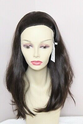 EUROPEAN HUMAN HAIR WIG DARK BROWN HEADBAND FALL WIG STRAIGHT 18 IN M NO EAR -
