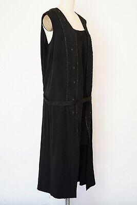 1920s Plus Size Flapper Dress (Vintage 1910s 1920s Dress Beaded Flapper Steel Beads Silk Slits Plus Size L)