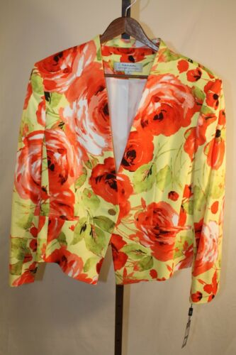 Tahari Arthur S Levine Womens Ladies Multi Color Floral Jacket Size 14