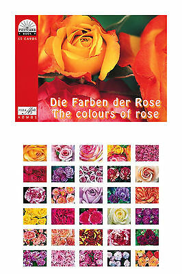 Geschenk  Postkartenbuch Die Farben der Rose, 30 Postkarten Rosen, Blumen NEU!!!