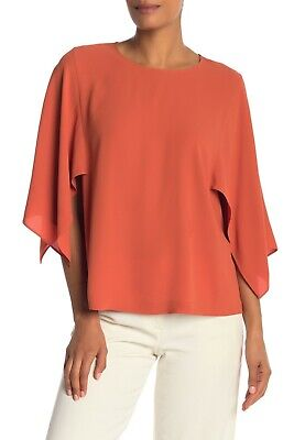 Slit Sleeve Top (Eileen Fisher Orange Pekoe Silk Crepe Slit Flutter Sleeve Top Large Orig $328 )