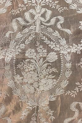 Antique c1870 French Silk & Metallic Jacquard Home Dec Textile~Floral&Ribbons