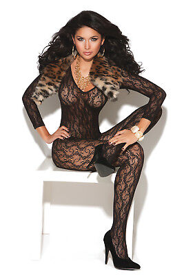 Lace Bodystocking Long Sleeve Plunging V Neckline Crotchless