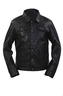 Infinity Herren Retro Stil Enge Passform Freizeit Schwarzes Leder Hemd Jeans