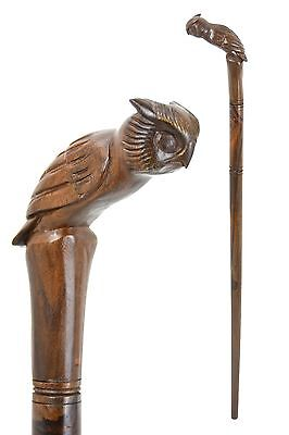 OWL wooden walking stick / cane - Hand carved from hardwood - BOXED item