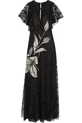 RRP €685 SACHIN & BABI Lace Maxi Dress Size 0 Contrast Silk Embroidered Floral