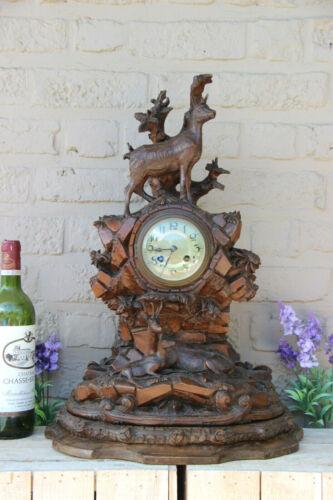 Antique Swiss XL black forest wood carved deer animal hunt cabin clock