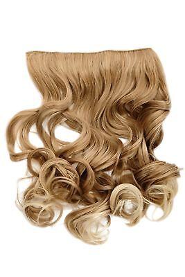 Haarteil Flip-In Extension Halbperücke breite Haarextension Blond Mix lockig