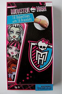 Monster High Valentine's Day 16 Cards & 16 Bracelets Class Exchange (Valentine Exchange Cards)
