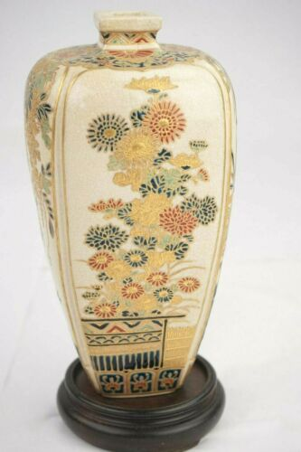 Antique Japanese Imperial Satsuma Gosu Blue Signed Vase 7 1/2 Inches in Height