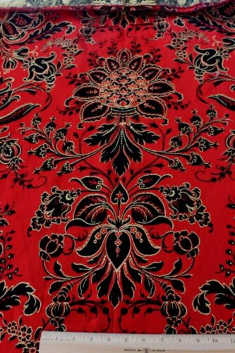 "Antique 19thc French Napoleon III Red & Black Wool Jacquard Fabric~Frame~54""X47"""