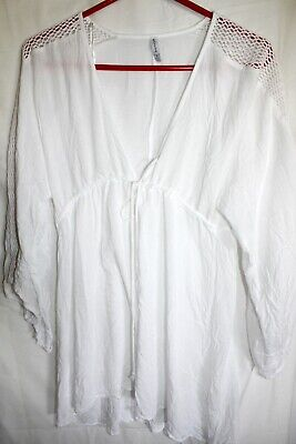 Lightweight Cover Up - RAVIVA, WHITE LIGHTWEIGHT SHEER BEACH COVER UP, DRAWSTRING, WOMEN'S SMALL, EUC