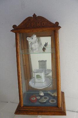 Original 1890's Zeno Chewing Gum Oak Countertop Display Case