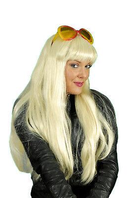 Damen PERÜCKE Cher blond lange Haare m Pony zB z Kostüm Hexe Prominet Hippie - Blonde Haare Kostüm