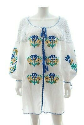 Juliet Dunn Floral Embroidered Cotton Dress / White