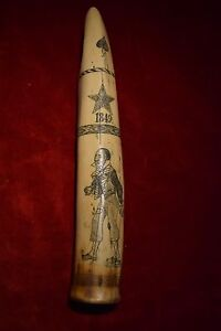 Faux scrimshaw  item dated 1849,  superb Quality