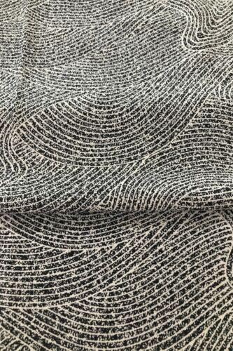 @160 cmx 35 cm  Japanese kimono silk fabric/ smooth weave/waves, black, whit D29