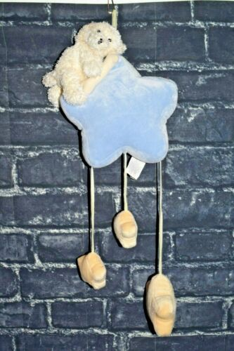 Pottery Barn Kids Hanging Stars Blue White Puppy Dog Nursery Crib Decor Mobile