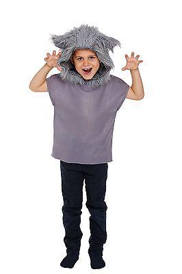 Childs Big Bad Wolf Fancy Dress Costume Unisex Boys Girls Kids Book Week 3 Sizes - Big Bad Wolf Girl Costume
