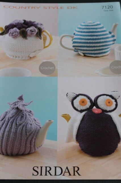 Sirdar Country Style DK pattern for four tea cosies. 2 Knitted and 2 Crochet.