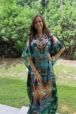 Women's Maxi Caftan Teal Blue Jewel Printed Resort Wear Plus size Cover Up 3X