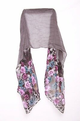 GRAPHITE LILAC MAGENTA BLUE SHEER SCARF W ROSES LEOPARD PRINT LADIES S166