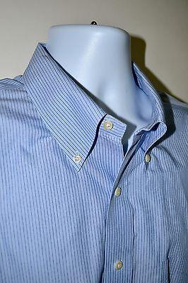 Brooks Brothers Men's Non-Iron Blue Striped Dress Shirt Size 18-34/35 2XL