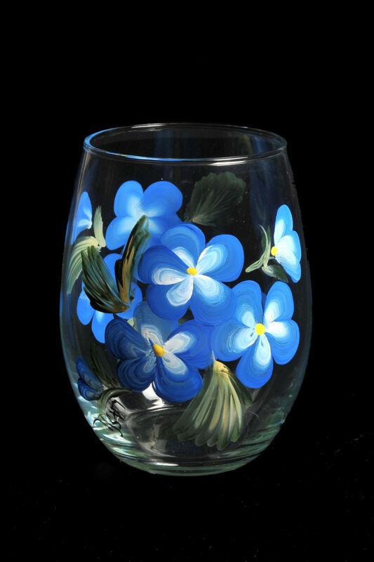 Hand Painted Stemless Wine Glass Assortment
