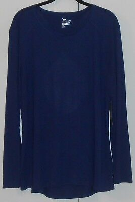 WOMEN'S OLD NAVY NAVY BLUE ULTRA-LIGHT CUT-OUT BACK L/S PERFORMANCE TOP/XLARGE