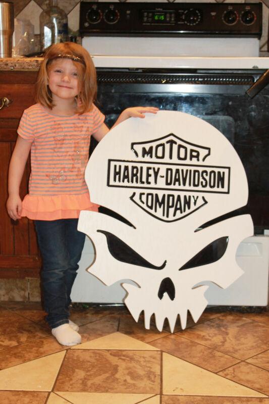 Harley Davidson Skull Wood Sign 24x30.