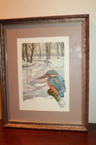Completed Finished Handworked Cross Stitch Bird Branch Snowy Scene Framed 15x19