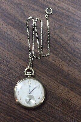 1924 Hamilton 916 14K Yellow Gold 17 Jewel Pocket Watch w/14K Fob AS IS