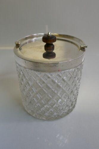 1918 Birmingham J. Grinsell & Sons Crystal & Silver Biscuit Barrel Item #15564