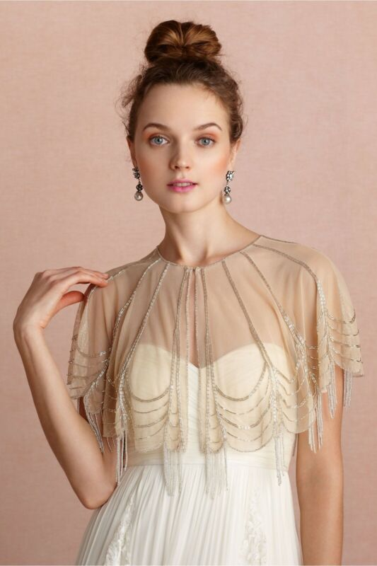 BHLDN Trickling Beaded Capelet Beige One Size