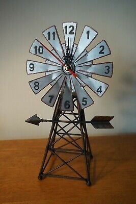 """Vintage 12"""" Rustic Country Primitive Amish Style Windmill Metal Home Decor CLOCK"""