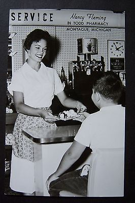 Nancy Fleming In Todd Pharmacy  Miss America 1961 Montague  Mi Rppc Postcard